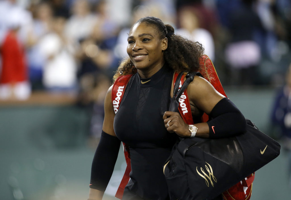 Serena Williams walking off the court.